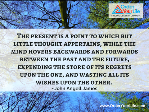 The present is a point to which but little thought appertains, while the mind hovers backwards and forwards between the past and the future, expending the store of its regrets upon the one, and wasting all its wishes upon the other. ~ John Angell James