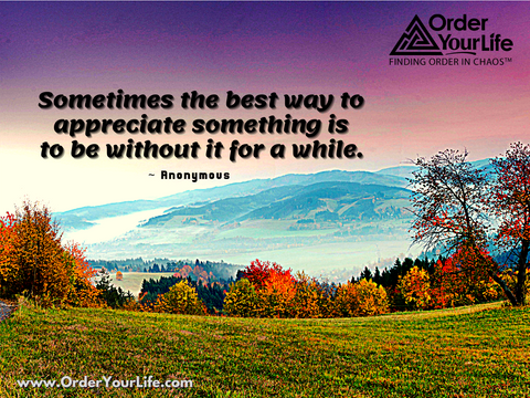 Sometimes the best way to appreciate something is to be without it for a while. ~ Anonymous
