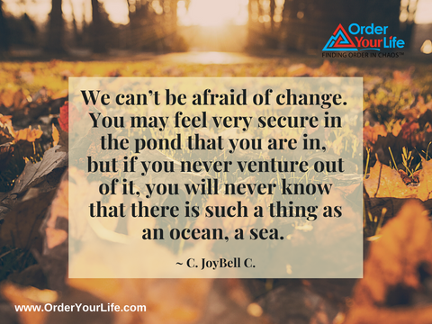 We can't be afraid of change. You may feel very secure in the pond that you are in, but if you never venture out of it, you will never know that there is such a thing as an ocean, a sea. ~ C. JoyBell C.