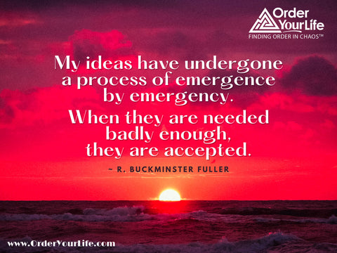 My ideas have undergone a process of emergence by emergency. When they are needed badly enough, they are accepted. ~ R. Buckminster Fuller