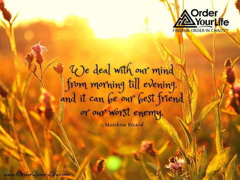 We deal with our mind from morning till evening, and it can be our best friend or our worst enemy. ~ Matthieu Ricard