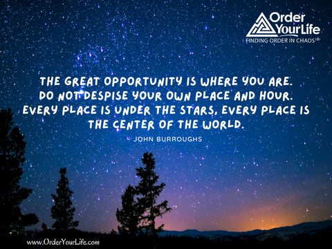 The great opportunity is where you are. Do not despise your own place and hour. Every place is under the stars, every place is the center of the world. ~ John Burroughs
