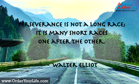 Perseverance is not a long race; it is many short races one after the other. ~ Walter Elliot