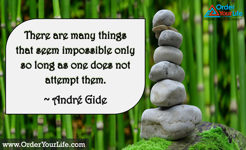 There are many things that seem impossible only so long as one does not attempt them. ~ André Gide