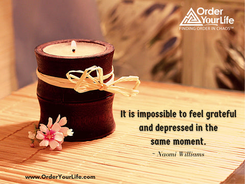 It is impossible to feel grateful and depressed in the same moment. ~ Naomi Williams