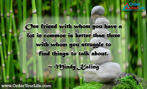 One friend with whom you have a lot in common is better than three with whom you struggle to find things to talk about. ~ Mindy Kaling