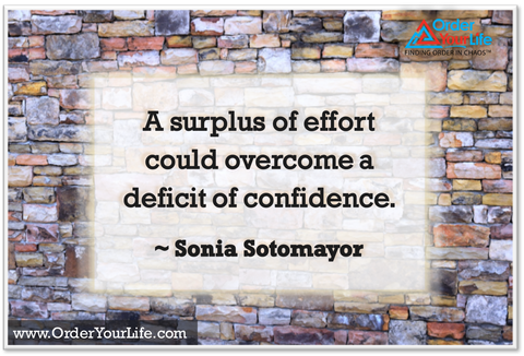 A surplus of effort could overcome a deficit of confidence. ~ Sonia Sotomayor