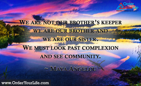 We are not our brother's keeper we are our brother and we are our sister. We must look past complexion and see community. ~ Maya Angelou