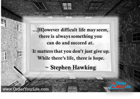 However difficult life may seem, there is always something you can do and succeed at. It matters that you don't just give up. While there's life, there is hope. ~ Stephen Hawking