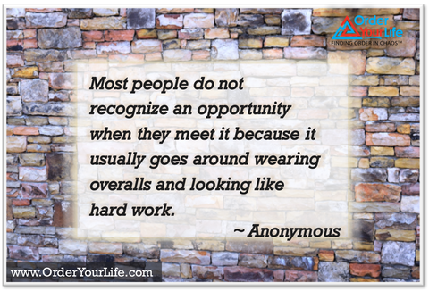 Most people do not recognize an opportunity when they meet it because it usually goes around wearing overalls and looking like hard work. ~ Anonymous