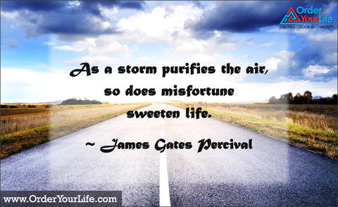 As a storm purifies the air, so does misfortune sweeten life. ~ James Gates Percival