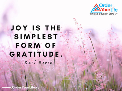 Joy is the simplest form of gratitude. ~ Karl Barth