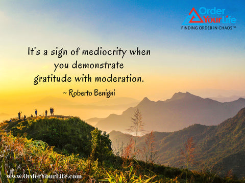 It's a sign of mediocrity when you demonstrate gratitude with moderation. ~ Roberto Benigni