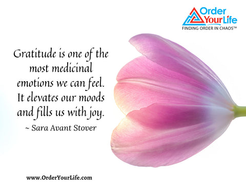 Gratitude is one of the most medicinal emotions we can feel. It elevates our moods and fills us with joy. ~ Sara Avant Stover