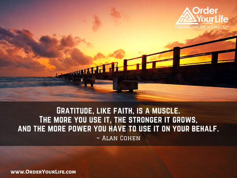 Gratitude, like faith, is a muscle. The more you use it, the stronger it grows, and the more power you have to use it on your behalf. ~ Alan Cohen