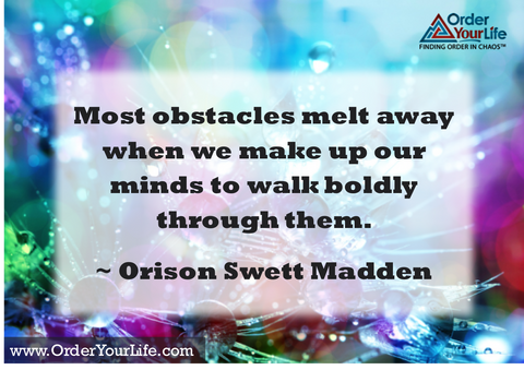 Most obstacles melt away when we make up our minds to walk boldly through them. ~ Orison Swett Madden