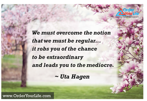 We must overcome the notion that we must be regular...it robs you of the chance to be extraordinary and leads you to the mediocre. ~ Uta Hagen