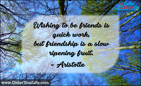 Wishing to be friends is quick work, but friendship is a slow ripening fruit. ~ Aristotle