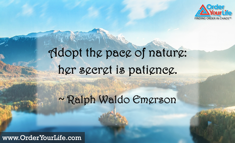 Adopt the pace of nature: her secret is patience. ~ Ralph Waldo Emerson