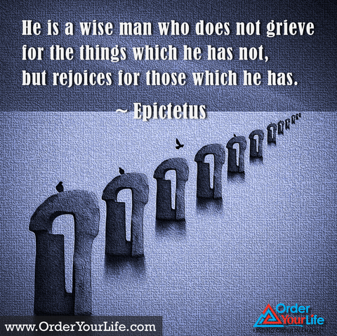 He is a wise man who does not grieve for the things which he has not, but rejoices for those which he has. ~ Epictetus