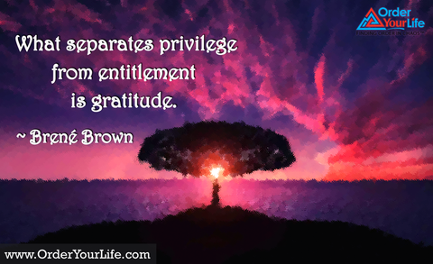 What separates privilege from entitlement is gratitude. ~ Brené Brown