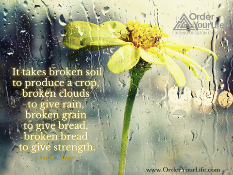 It takes broken soil to produce a crop, broken clouds to give rain, broken grain to give bread, broken bread to give strength. ~ Vance Havner