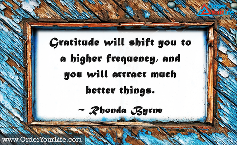 Gratitude will shift you to a higher frequency, and you will attract much better things. ~ Rhonda Byrne