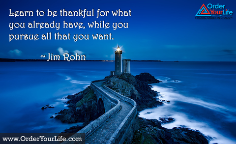 Learn to be thankful for what you already have, while you pursue all that you want. ~ Jim Rohn