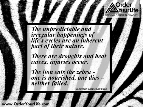The unpredictable and irregular happenings of life's cycles are an inherent part of their nature. There are droughts and heat waves, injuries occur. The lion eats the zebra - one is nourished, one dies – neither failed. ~ Jonathan Lockwood Huie
