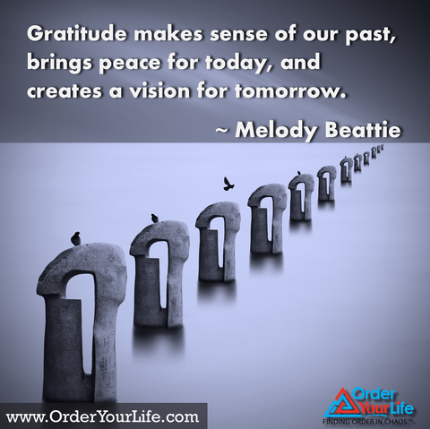 Gratitude makes sense of our past, brings peace for today, and creates a vision for tomorrow. ~ Melody Beattie