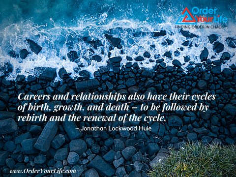 Careers and relationships also have their cycles of birth, growth, and death – to be followed by rebirth and the renewal of the cycle. ~ Jonathan Lockwood Huie