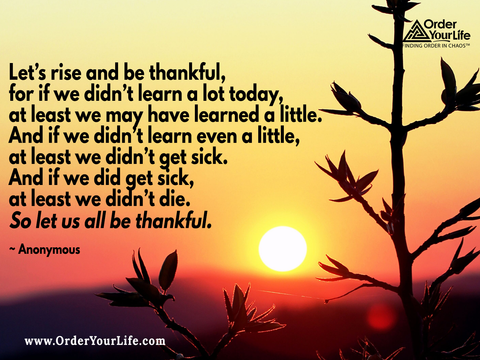 Let's rise and be thankful, for if we didn't learn a lot today, at least we may have learned a little. And if we didn't learn even a little, at least we didn't get sick. And if we did get sick, at least we didn't die. So let us all be thankful. ~ Anonymous