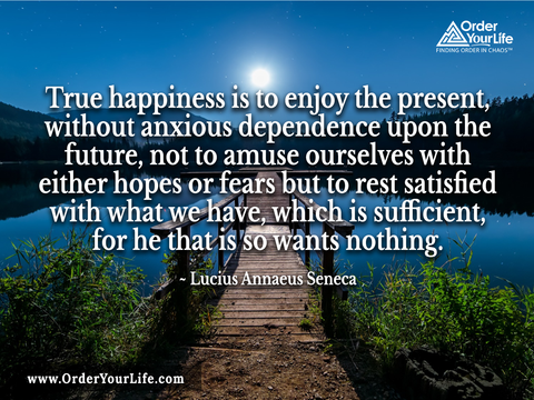 True happiness is to enjoy the present, without anxious dependence upon the future, not to amuse ourselves with either hopes or fears but to rest satisfied with what we have, which is sufficient, for he that is so wants nothing. ~ Lucius Annaeus Seneca