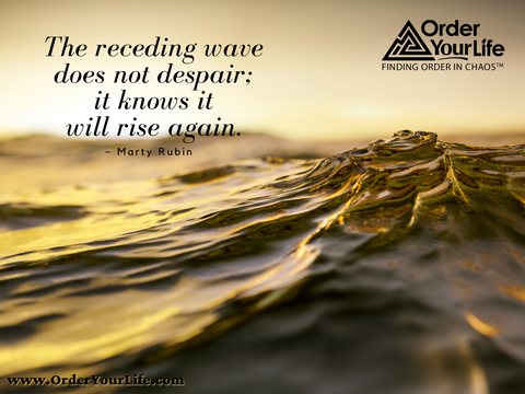 The receding wave does not despair; it knows it will rise again. ~ Marty Rubin