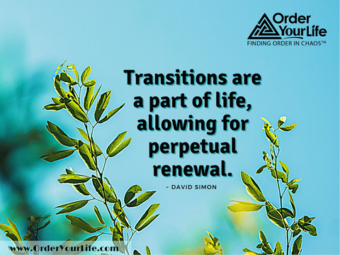 Transitions are a part of life, allowing for perpetual renewal. ~ David Simon