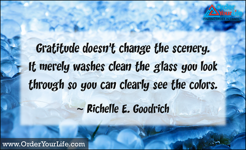 Gratitude doesn't change the scenery. It merely washes clean the glass you look through so you can clearly see the colors. ~ Richelle E. Goodrich