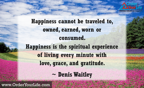 Happiness cannot be traveled to, owned, earned, worn or consumed. Happiness is the spiritual experience of living every minute with love, grace, and gratitude. ~ Denis Waitley