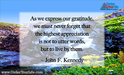 As we express our gratitude, we must never forget that the highest appreciation is not to utter words, but to live by them. ~ John F. Kennedy