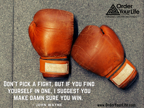 Don't pick a fight, but if you find yourself in one, I suggest you make damn sure you win. ~ John Wayne
