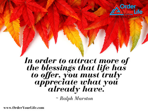 In order to attract more of the blessings that life has to offer, you must truly appreciate what you already have. ~ Ralph Marston