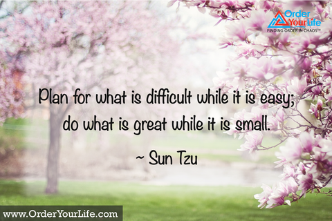 Plan for what is difficult while it is easy; do what is great while it is small. ~ Sun Tzu