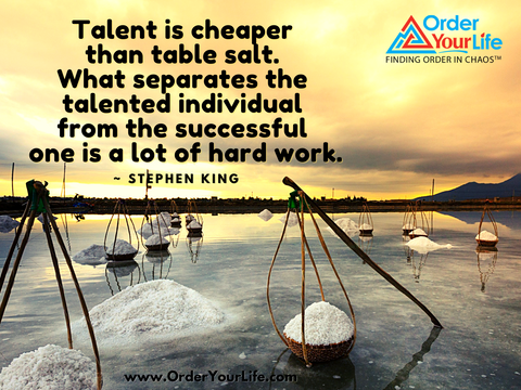 Talent is cheaper than table salt. What separates the talented individual from the successful one is a lot of hard work. ~ Stephen King