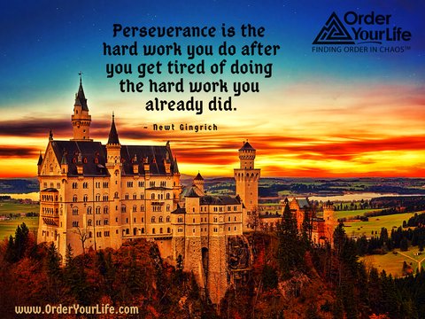 Perseverance is the hard work you do after you get tired of doing the hard work you already did. ~ Newt Gingrich