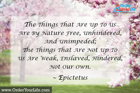The things that are up to us are by nature free, unhindered, and unimpeded; the things that are not up to us are weak, enslaved, hindered, not our own. ~ Epictetus