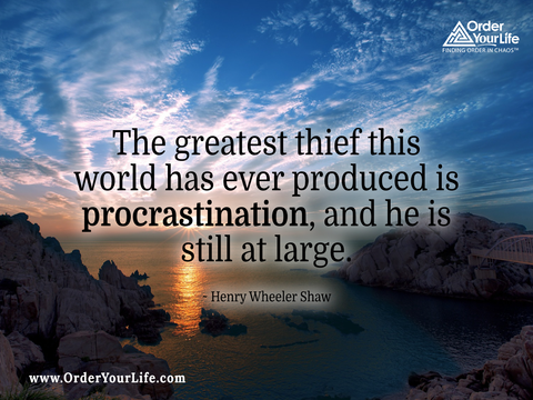 The greatest thief this world has ever produced is procrastination, and he is still at large. ~ Henry Wheeler Shaw