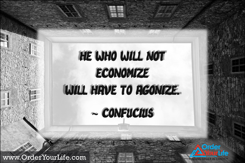 He who will not economize will have to agonize. ~ Confucius
