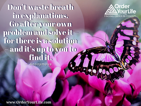 Don't waste breath in explanations. Go after your own problem and solve it – for there is a solution – and it's up to you to find it. ~ Anonymous