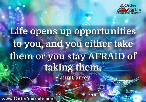 Life opens up opportunities to you, and you either take them or you stay afraid of taking them. ~ Jim Carrey