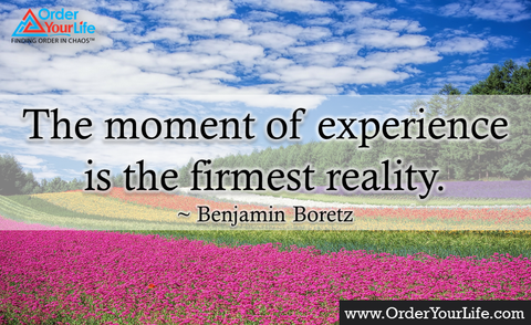 The moment of experience is the firmest reality. ~ Benjamin Boretz