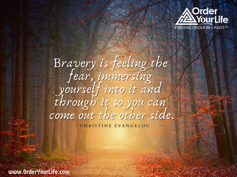 Bravery is feeling the fear, immersing yourself into it and through it so you can come out the other side. ~ Christine Evangelou